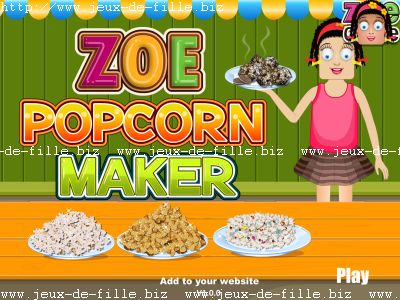 jeu de fille Faire du pop corn naturel